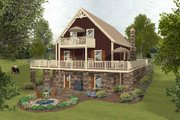 Cottage Style House Plan - 3 Beds 2 Baths 1592 Sq/Ft Plan #56-625 Exterior - Rear Elevation
