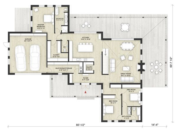 Modern Floor Plan - Main Floor Plan Plan #924-6