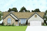 Ranch Style House Plan - 3 Beds 2 Baths 1645 Sq/Ft Plan #58-181 Exterior - Front Elevation
