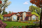 Mediterranean Style House Plan - 4 Beds 4 Baths 3069 Sq/Ft Plan #80-141 Exterior - Front Elevation