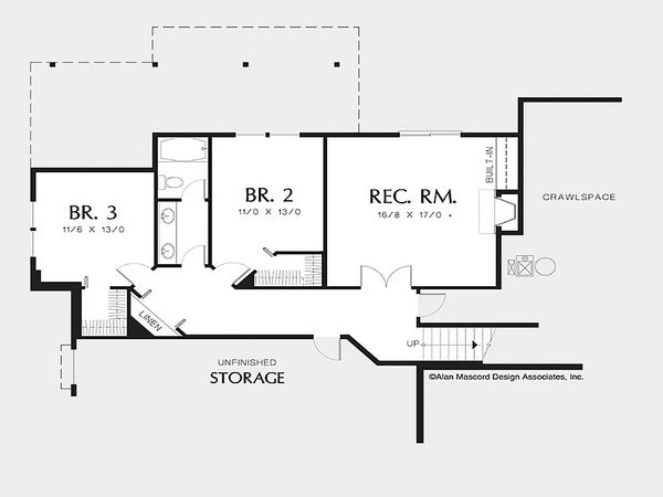 Craftsman Floor Plan - Lower Floor Plan Plan #48-169