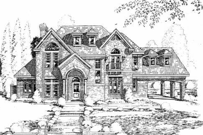 European Exterior - Front Elevation Plan #61-247