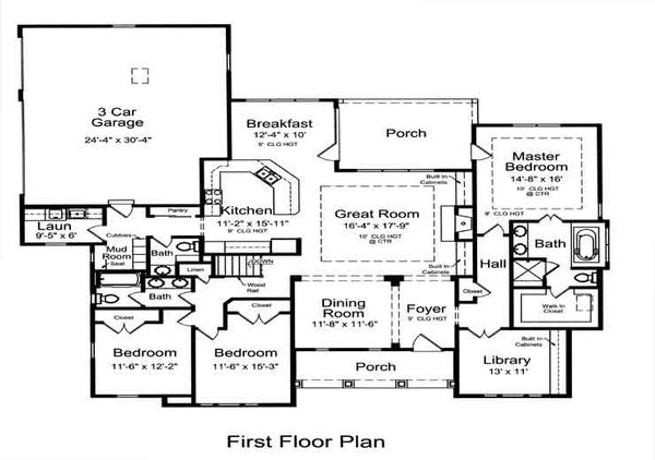 Bungalow Floor Plan - Main Floor Plan Plan #46-479