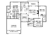 Traditional Style House Plan - 3 Beds 2 Baths 1535 Sq/Ft Plan #929-57 Floor Plan - Main Floor