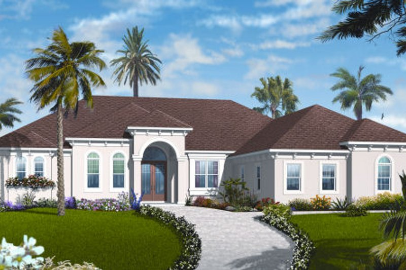 Mediterranean Style House Plan - 4 Beds 3.5 Baths 2901 Sq/Ft Plan #23-2221 Exterior - Front Elevation