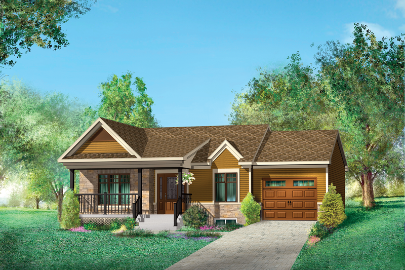 Country Style House Plan - 2 Beds 1 Baths 806 Sq/Ft Plan #25-4537 Exterior - Front Elevation