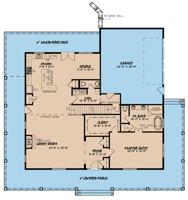 Farmhouse Floor Plan - Main Floor Plan Plan #923-109