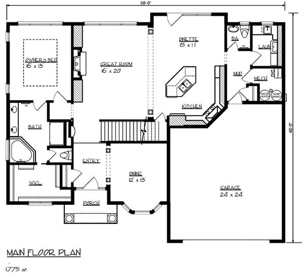 Mediterranean Floor Plan - Main Floor Plan Plan #320-482