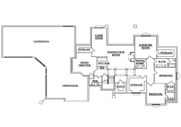 Colonial Floor Plan - Lower Floor Plan Plan #5-320