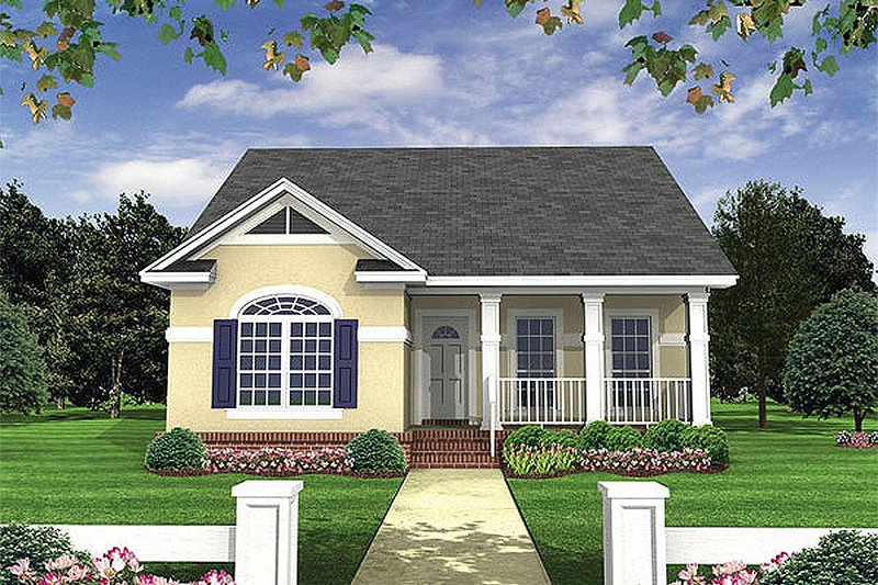 Cottage Style House Plan - 2 Beds 2 Baths 1100 Sq/Ft Plan #21-222 Exterior - Front Elevation
