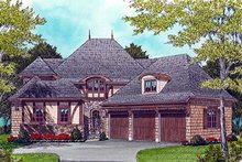 Dream House Plan - European Exterior - Front Elevation Plan #413-116