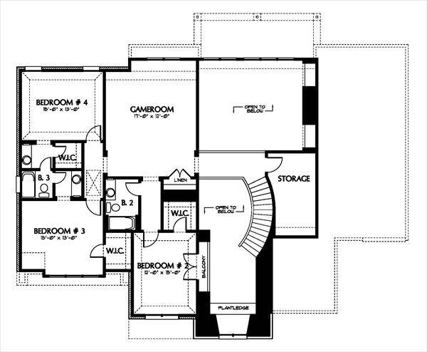 European Floor Plan - Upper Floor Plan Plan #449-4