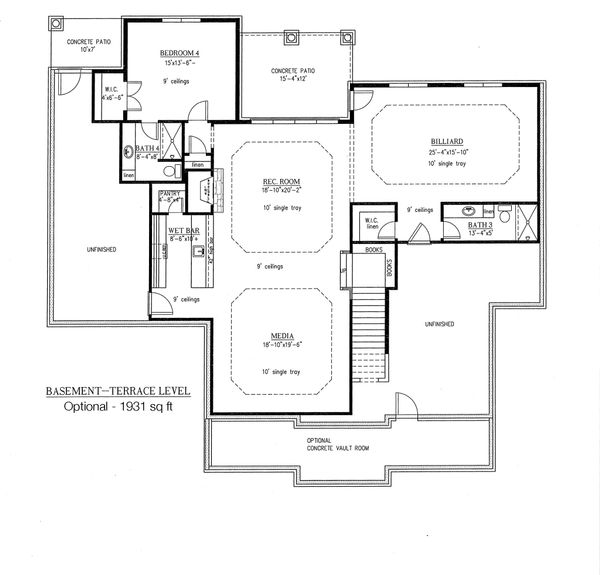 European Floor Plan - Lower Floor Plan Plan #437-63