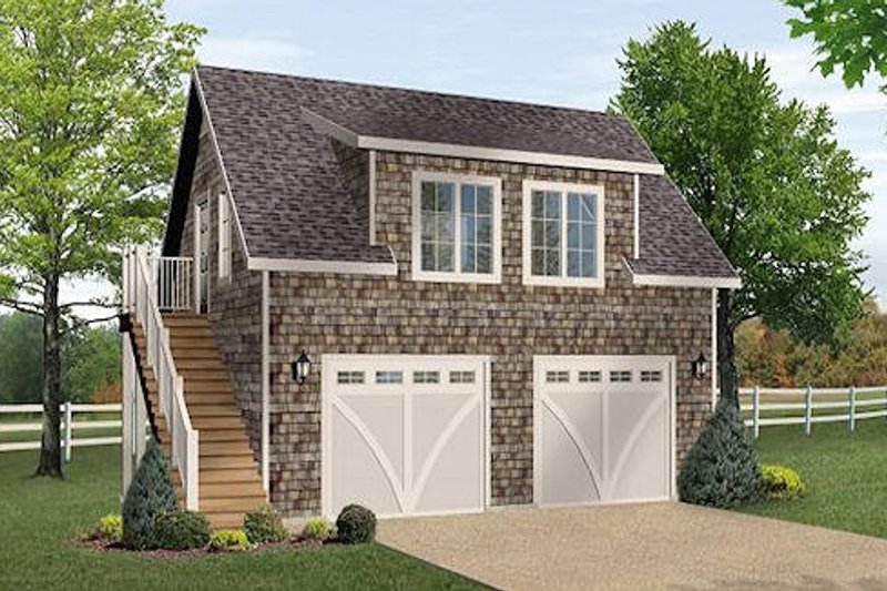 Craftsman Style House Plan - 1 Beds 1 Baths 533 Sq/Ft Plan #22-542 Exterior - Front Elevation