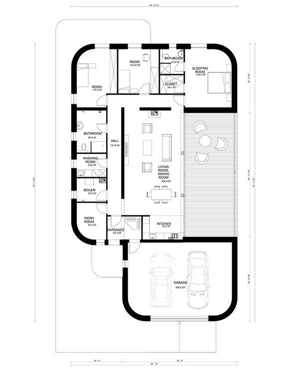 Contemporary Floor Plan - Main Floor Plan Plan #906-2