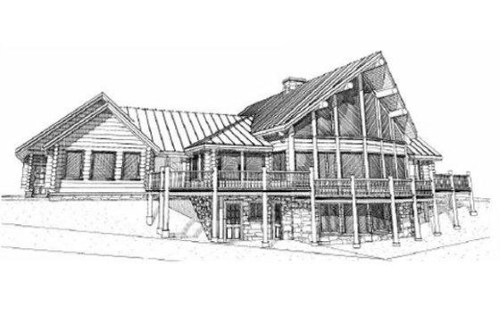 Log Exterior - Front Elevation Plan #451-2