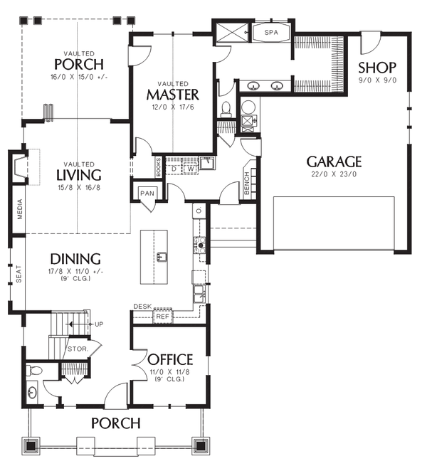 Cottage Style House Plan - 3 Beds 2.5 Baths 2256 Sq/Ft Plan #48-704 Floor Plan - Main Floor Plan