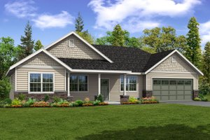 Ranch Exterior - Front Elevation Plan #124-1091