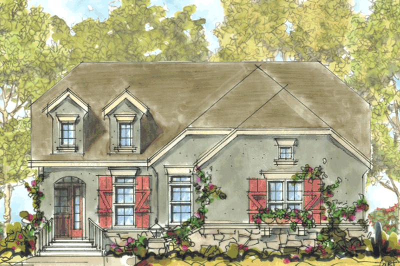 European Style House Plan - 2 Beds 2 Baths 2100 Sq/Ft Plan #20-1627 Exterior - Front Elevation
