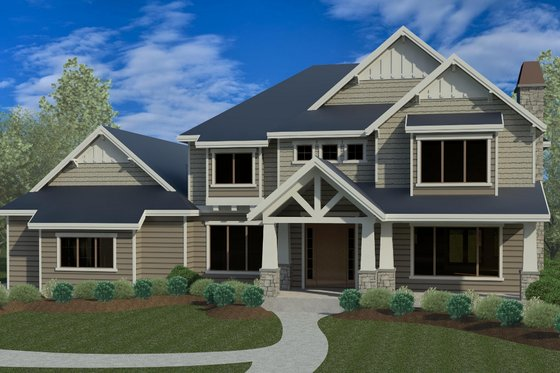 Craftsman Exterior - Front Elevation Plan #920-74