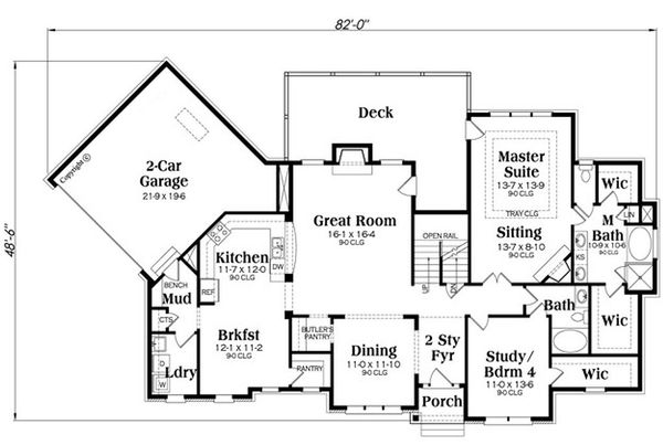 European Floor Plan - Main Floor Plan Plan #419-305