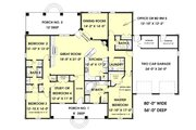 European Style House Plan - 5 Beds 3 Baths 2550 Sq/Ft Plan #44-157 Floor Plan - Main Floor Plan