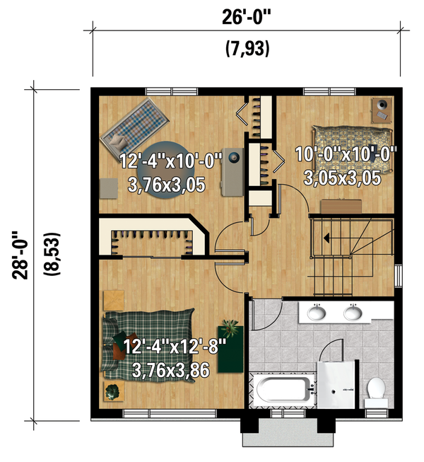 Contemporary Floor Plan - Upper Floor Plan Plan #25-4295
