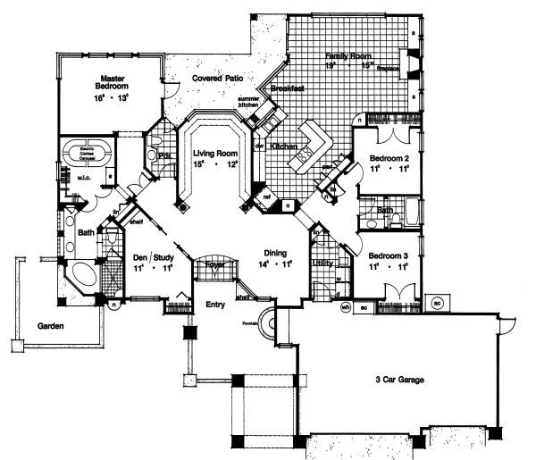 European Floor Plan - Main Floor Plan Plan #417-258