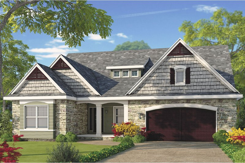 Craftsman Style House Plan - 4 Beds 4 Baths 2794 Sq/Ft Plan #20-2281 Exterior - Front Elevation
