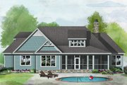 Craftsman Style House Plan - 3 Beds 3 Baths 1871 Sq/Ft Plan #929-1058 Exterior - Rear Elevation