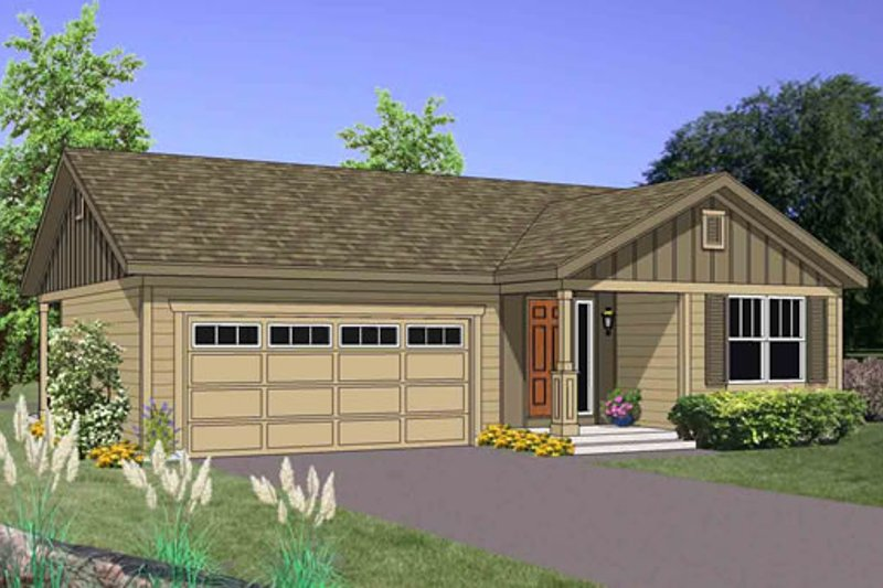 Traditional Style House Plan - 3 Beds 2 Baths 1202 Sq/Ft Plan #116-267 Exterior - Front Elevation