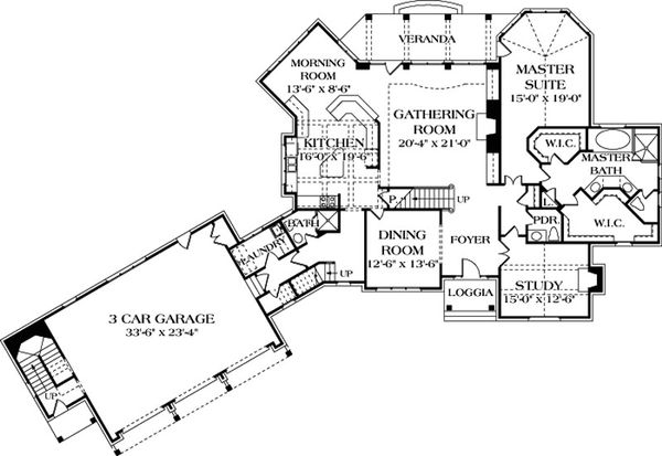 European Floor Plan - Main Floor Plan Plan #453-42
