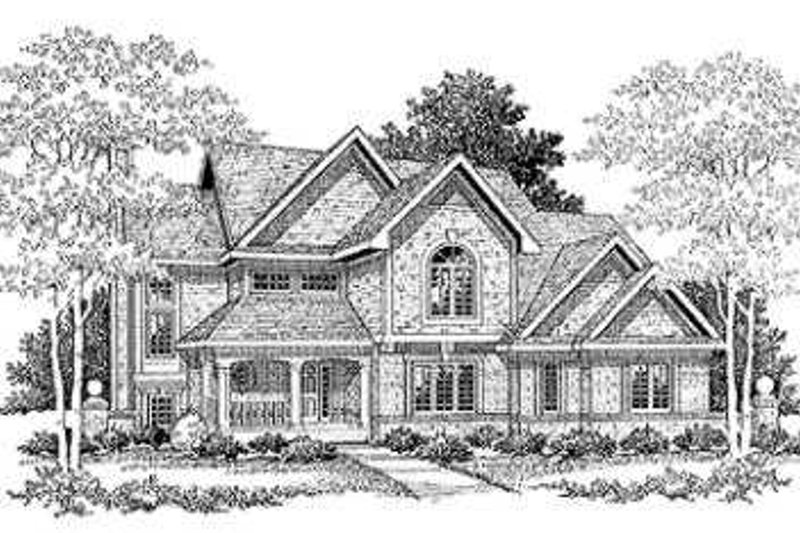 Country Style House Plan - 3 Beds 2.5 Baths 2949 Sq/Ft Plan #70-464 Exterior - Front Elevation