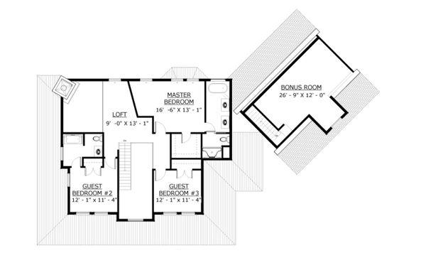 Farmhouse Floor Plan - Upper Floor Plan Plan #524-15