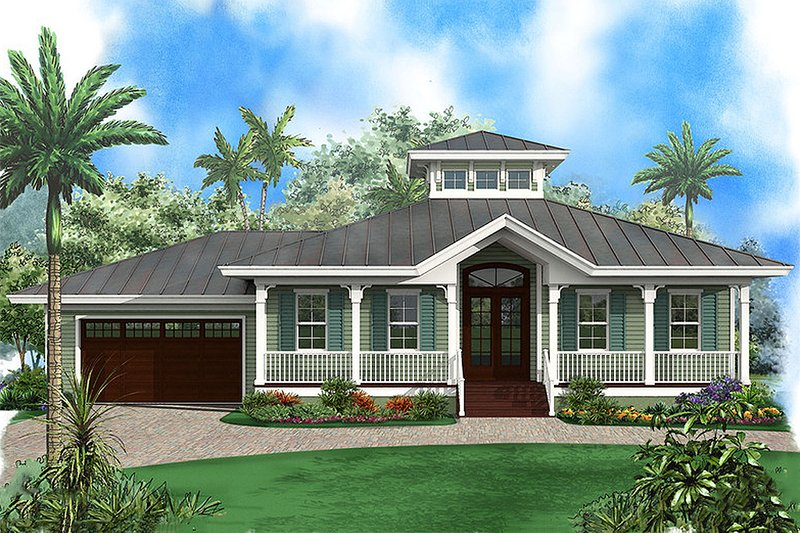 Beach Style House Plan - 3 Beds 2 Baths 1697 Sq/Ft Plan #27-481 Exterior - Front Elevation