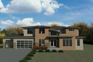 Dream House Plan - Contemporary Exterior - Front Elevation Plan #1066-116