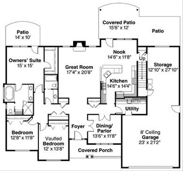 Craftsman Floor Plan - Main Floor Plan Plan #124-779