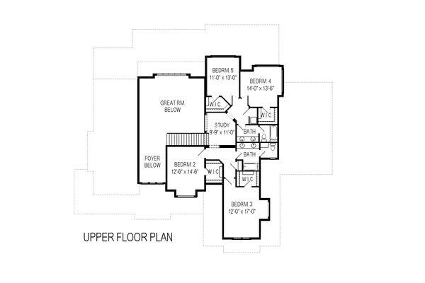 Craftsman Floor Plan - Upper Floor Plan Plan #920-29