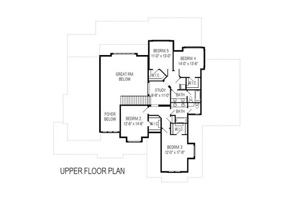 Craftsman Floor Plan - Upper Floor Plan Plan #920-29