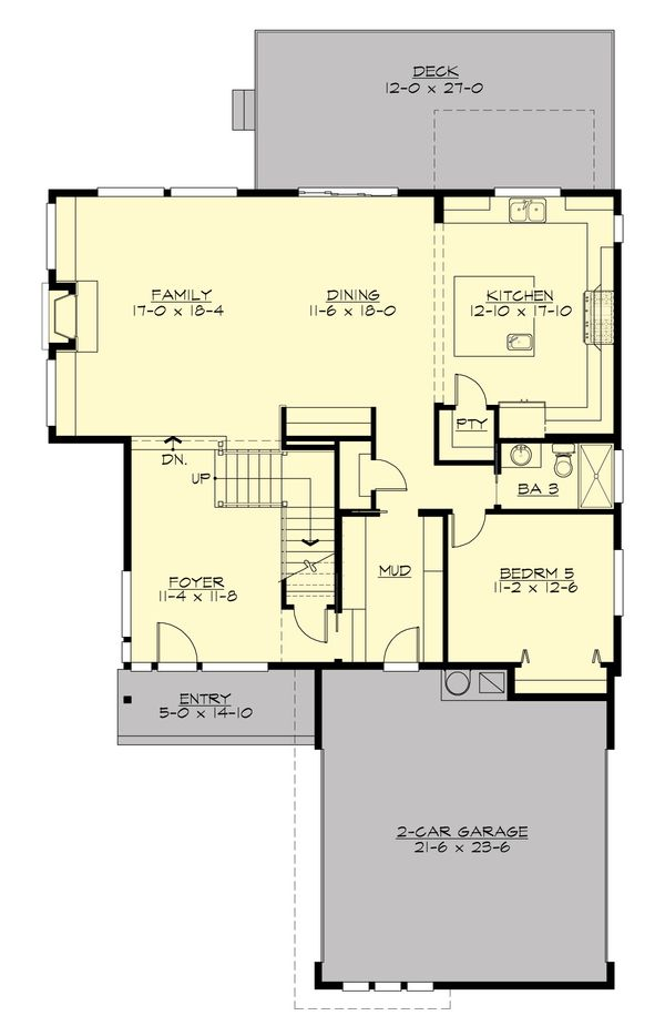 Contemporary design house plan, modern floor plan