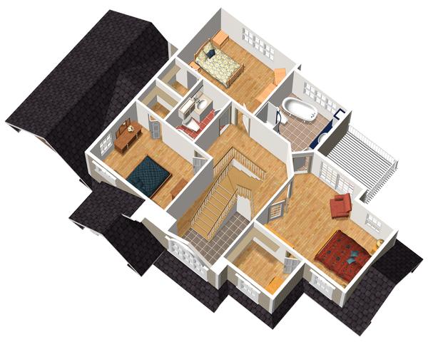 Traditional Floor Plan - Upper Floor Plan Plan #25-4716