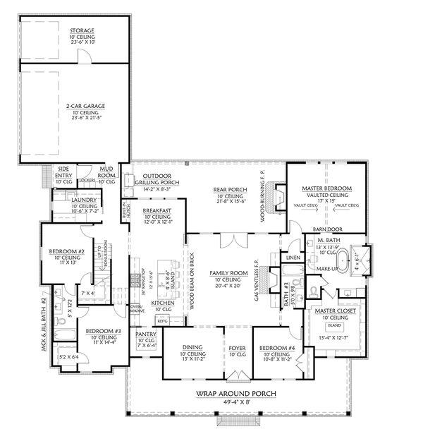 Dream House Plan - Farmhouse Floor Plan - Main Floor Plan #1074-30