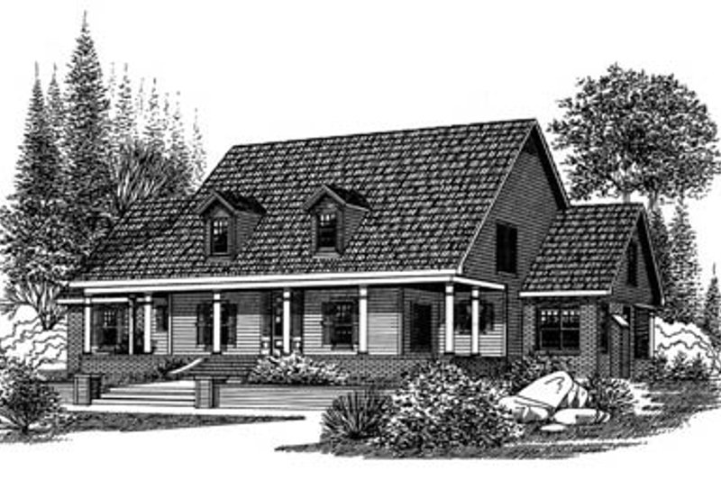Country Style House Plan - 4 Beds 2.5 Baths 2924 Sq/Ft Plan #15-214 Exterior - Front Elevation