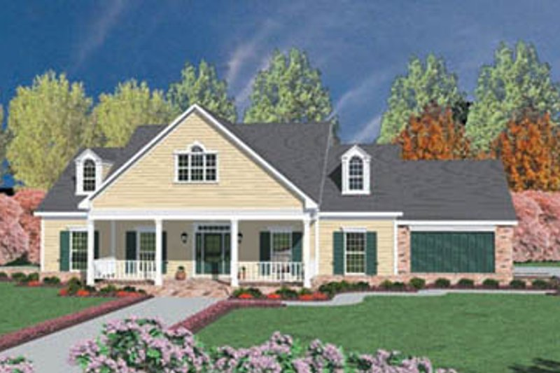 Farmhouse Style House Plan - 3 Beds 2 Baths 2211 Sq/Ft Plan #36-202 Exterior - Front Elevation