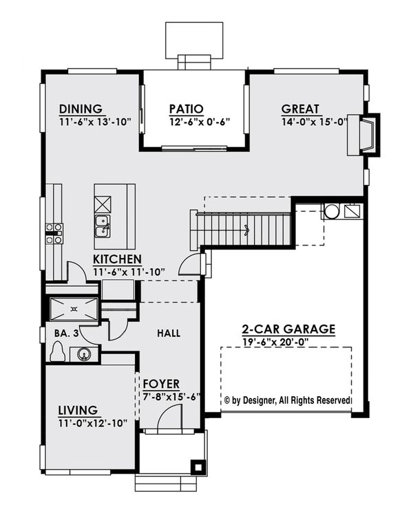 Contemporary Floor Plan - Main Floor Plan Plan #1066-6