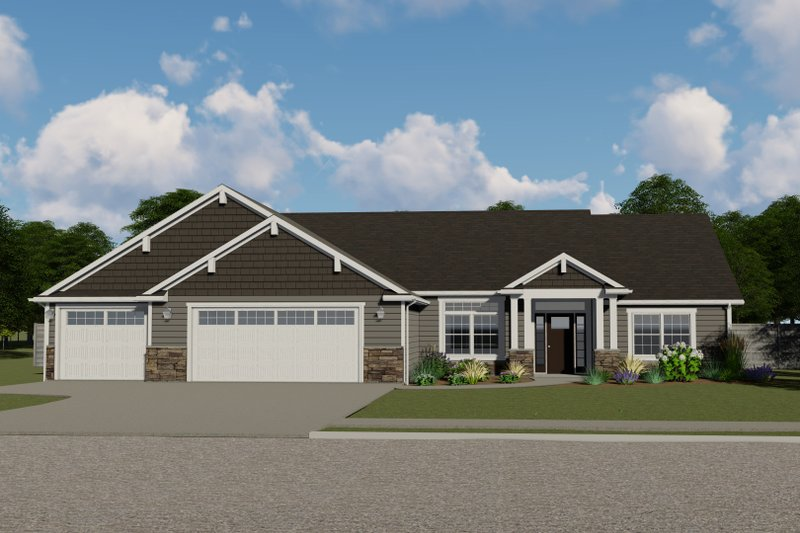 Ranch Style House Plan - 3 Beds 2.5 Baths 2141 Sq/Ft Plan #1064-43 Exterior - Front Elevation