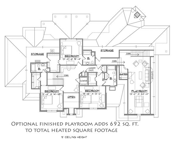 Traditional Floor Plan - Upper Floor Plan Plan #1054-31