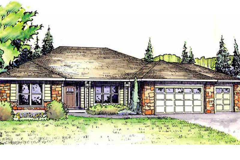 Ranch Exterior - Front Elevation Plan #124-833