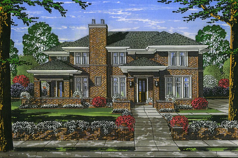 Traditional Style House Plan - 4 Beds 3.5 Baths 2625 Sq/Ft Plan #46-870 Exterior - Front Elevation