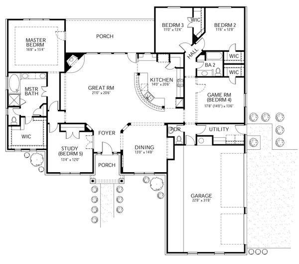 Mediterranean Floor Plan - Main Floor Plan Plan #80-172